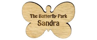 Custom shaped engraved wooden name badges - A custom shaped real wood name badge | www.namebadgesinternational.co.uk